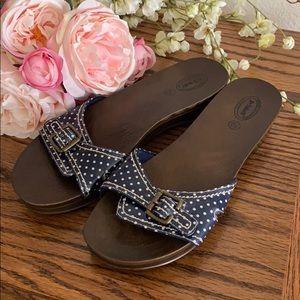 Dr Scholl's Blue Dot Buckle Sandals